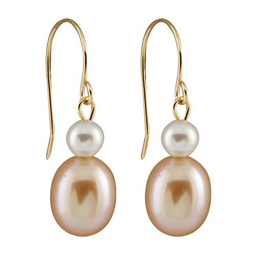 Handpicked AAA+ 7-7.5mm Half-Drilled Pink Drop Shape and Full Drilled 4-4.5mm White Round Biwa Freshwater Cultured Pearls in 14K Yellow Gold Fishhook Dangling (Tahitian Half Drilled Pearls)
