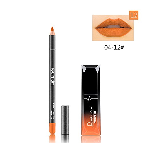 Hohaski 2019 New Long Lasting Lipstick Waterproof Matte Lip Gloss + Lip Liner Cosmetics Set The Best Gift For Mom&Girlfriend (L)