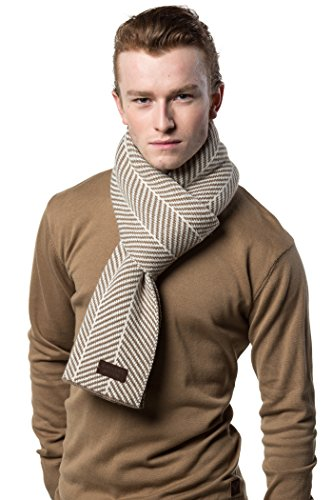 Gallery Seven Winter Scarf for Men, Soft Knit Scarve, in an Elegant Gift Box - Beige/Off White
