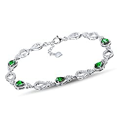 White/Rose Gold Green Garnet Diamond Bracelet