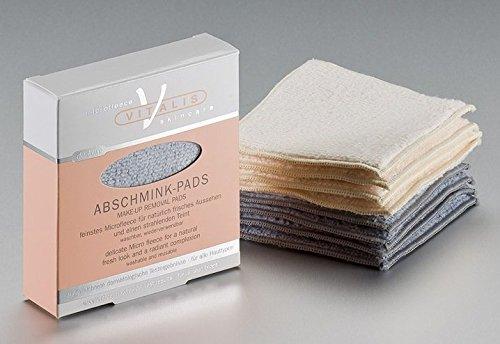 4 deluxe Microfaser Abschminkpads, Abschminktücher, Kosmetiktücher, graublau, waschbar inkl. Waschsäckchen