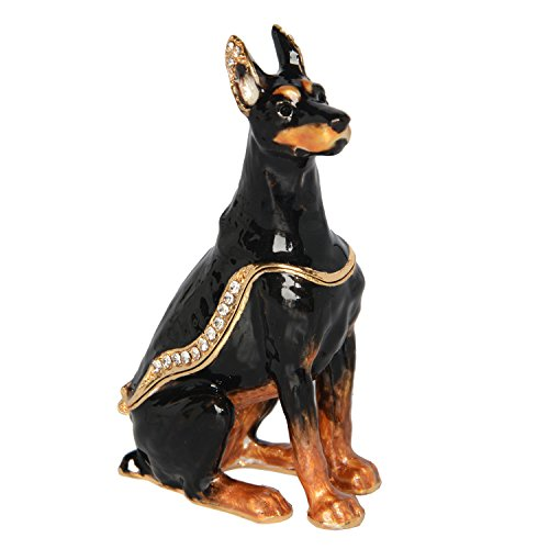 (Minihouse Trinket Box Enamelled Keepsake Box Hinged Crytsal Sergeant Doberman Pinscher Dog Figurines)