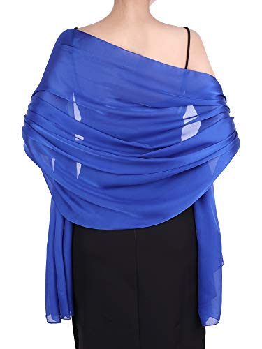 Boao Women Satin Scarves Long Shawl Wrap Light Soft Sheer Scarf for Wedding Party Everyday Accessory (Royal Blue)