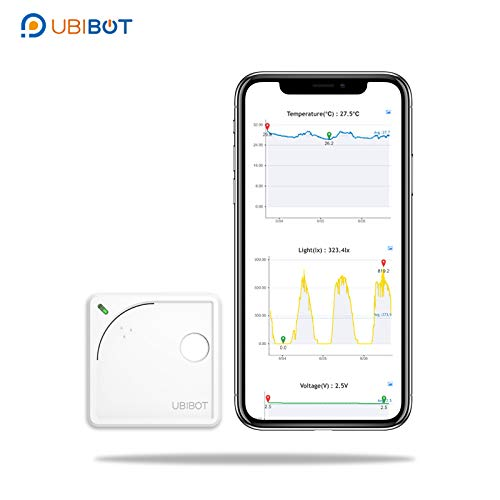Wireless WiFi Environment Monitor with Temperature Thermometer, Humidity Meter, Light Sensor and Mobile APP, Email Alerts by UbiBot WS1, Compatible with IFTTT (2.4GHz WiFi only, no hub Required)