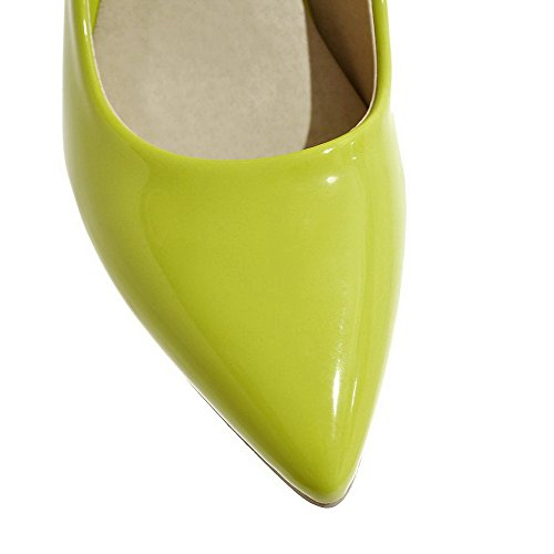 VogueZone009 Women's Pull-On Patent Leather Closed-Toe High-Heels Pumps-Shoes Green AS1esGcg