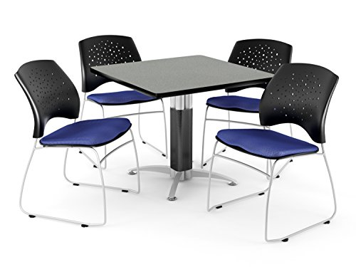 OFM PKG-BRK-018-0026 Breakroom Package, Gray Nebula Table/Royal Blue Chair by OFM
