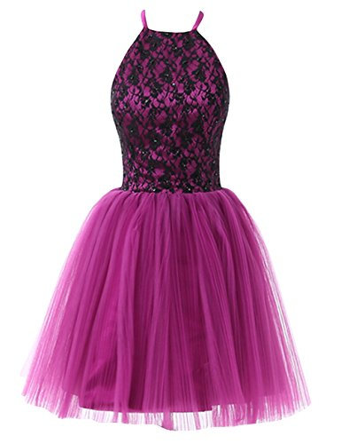 ModeC Short Halter Homecoming Dresses Lace Dress Open Back A Line Prom Gowns Orchid US6