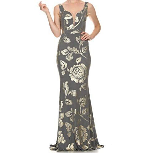 c3b191daff92 Xtaren Plussize Charcoal Gray Gold Floral Sleeveless Evening Bridesmaid  Prom Formal Dress