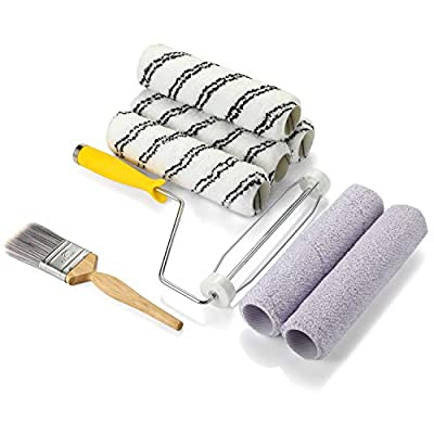 """9 Inch Paint Roller Set- KUPOO Paint Brush,Roller Frame with 6 Roller Covers 9"""",Paint Roller Kit for Home Room Wall Decorate Tool Painting Brush Set 8 Piece"""
