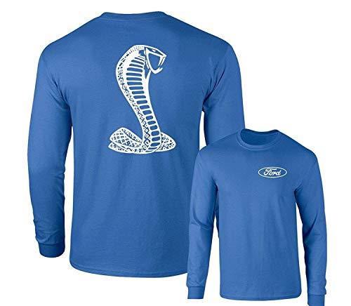 Ford Mustang American Shelby White Snake Long Sleeve T-Shirt F&B, Royal -