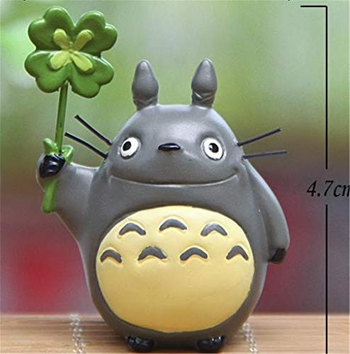Kawaii Diy Cartoon Resin Totoro Figurines With Luck Green Grass Miniatures Micro Landscape For Kids Gift Doll Toy Decoration C