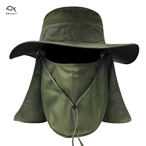 (YR.Lover New Fishing Outdoor Sun Hat with Removable Neck Face Flap, Fishing Hat Safari UPF 50+ UV Sun Protection Bucket Cap, Mesh Boonie Hat for Outdoor Sports & Travel for Men and Women.)