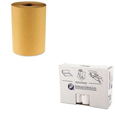 KITBWK6256IBSS404816N - Value Kit - IBS S404816N High Density Commercial Coreless Roll Can Liners, Natural (IBSS404816N) and Boardwalk 6256 Natural Hardwound Roll Paper Towels, 8quot; x 800' (BWK6256) by Inteplast Group