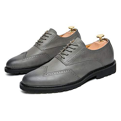 la Hombres Ocasional Respirables Zapatos los Oxford Antideslizantes de de de Cuero Brogue PU la de de la Gris Moda Manera de 4qAwYABH