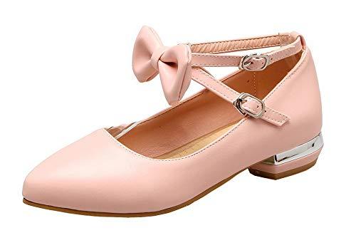 VogueZone009 Women's Buckle Low-Heels PU Solid Pumps-Shoes, CCADP012014,