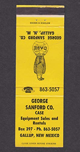 George Sanford Co Equipment Sales Gallup NM matchcover