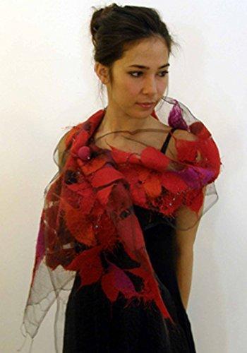 ''Carnation Nuno Shawl'' handwoven pure silk organza shawl with hand-felted merino wool design 15'' x 85'' by Alarte Silks