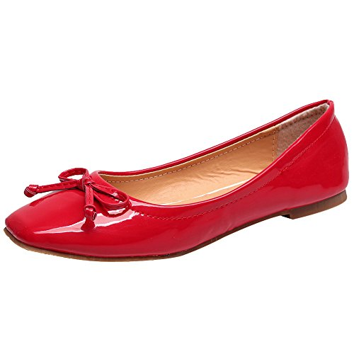 Jamron Women Lovely Bow Tie Ballerinas Comfy Square Toe Ballet Flats Slippers Pumps Dolly Shoes Red SN02911 US7 ()