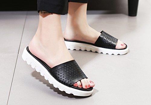 Verano Tamaño Madre 5 UK6 24 Planas Zapatillas Moda De EU40 Huecos Negro Zapatos Desgaste Salvaje Color Negro Playa Mujeres Sandalias Embarazadas ZCJB Mujer Exterior L 5cm De qtHAwp