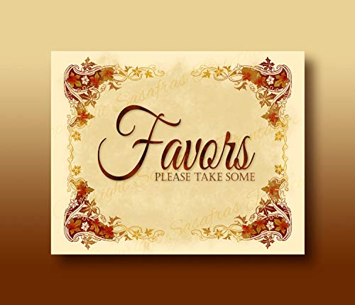 Mildred Rob Favors Please take Some Autumn Halloween Wedding Sign Download Print Printable File Autumn Leaves Design