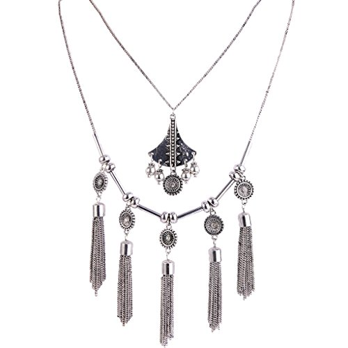 - BriLove Women's Vintaged Style Multi Layers Beaded Tassel Pendant Statement Necklace Antiqued Silver-Tone