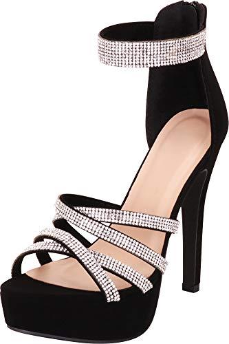 Cambridge Select Women's Open Toe Ankle Strappy Crystal Rhinestone Chunky Platform High Heel Dress Sandal (10 B(M) US, Black NBPU) ()