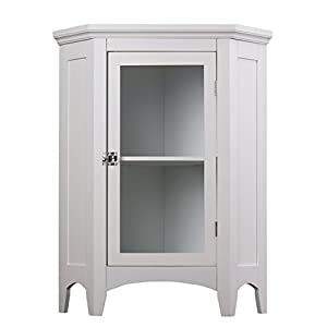 Elegant Home Fashions Madison Collection Shelved Corner Floor Cabinet, White