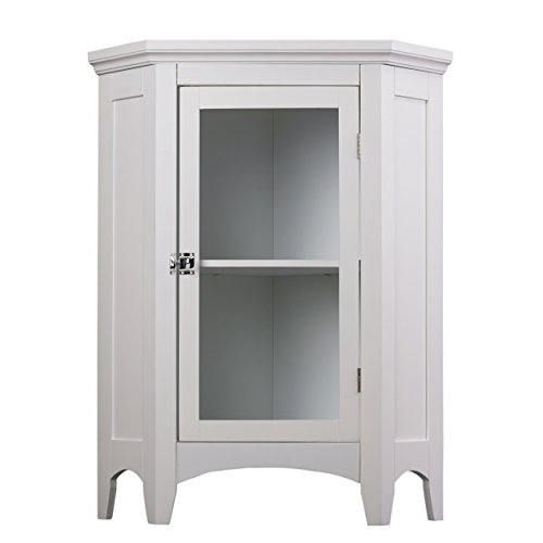 Elegant Home Fashions Madison Collection Shelved Corner Floor Cabinet, White (Corner Shelf Cabinet)