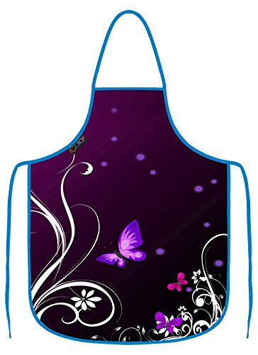 Apron Purple Bbq (iColor Purple Butterfly Cooking Apron,Funny BBQ or Kitchen Aprons,Machine Washable,Premium Quality Bib aprons for Women and Men,ideal for Kitchen,parties,garden,camping & more | Choose Your Color AP-2)