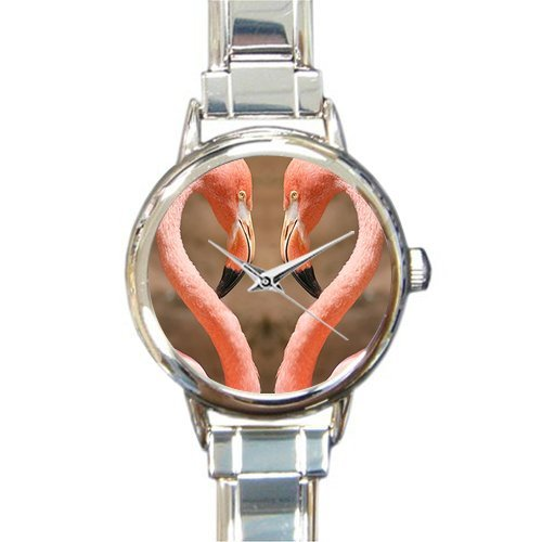 Personalized Watch Flamingos Fall in Love Pattern Round Italian Charm stainless steel Watch by Flamingo Watch (Image #1)