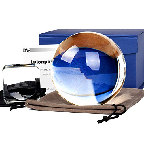 Lens K9 Crystal Ball with Stand&Pouch,3.15IN Gazing Ball K9 Suncatcher Glass Professional Photography Sphere Lens Ball Clear Art Decor K9 Crystal Prop for Photography Decoration Ornaments &Gift Box