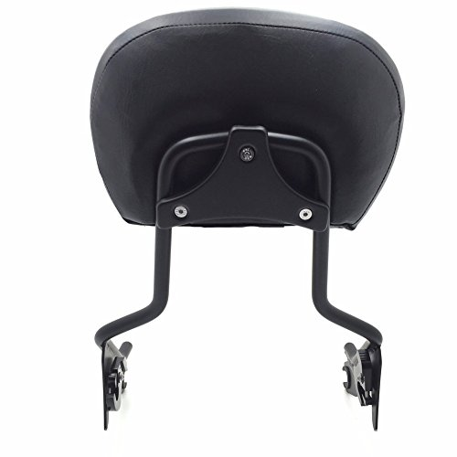 HTT adjustable Flat Black Backrest Sissy Bar w/ Leather pad w/ Flat Mounting Plate For ALL YEAR Harley Davidson Touring FLHR- Road King FLHX- Street Glide (NEED DOCKING,SOLD SEPARATELY) (Bar Sissy Backrest)