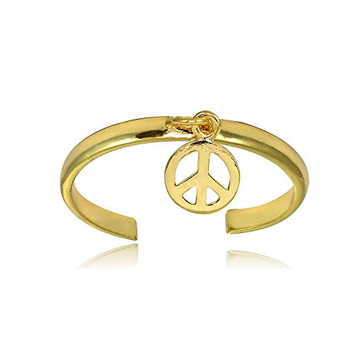 (Hoops & Loops Yellow Gold Flash Sterling Silver Polished Dangling Peace Toe Ring)