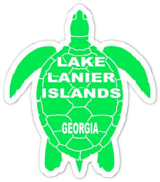 R and R Imports Lake Lanier Islands Georgia 4 Inch Green Turtle Shape Decal Sticke (Lake Lanier Decal)