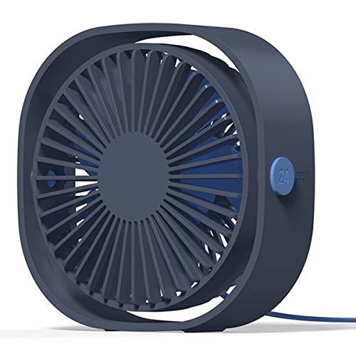 LoiStu USB Desk Fan, 4 Inch Portable Ultra-Quiet Mini Fan, 360° Up and Down, Three-Speed Wind, Suitable for Office, Family (Blue)