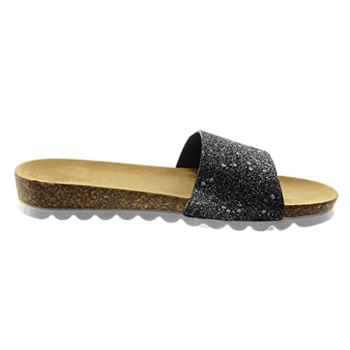 Sughero 3 Piatto Moda Scarpe Angkorly on Sandali Mules nero Paillette CM Lucide Slip Donna Tacco Tacco O771FxnW