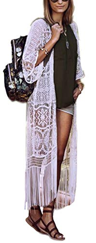 Womens Long Embroidered Lace Kimono Cardigan with Half Sleeves (One Size, - Dress Butterfly Long