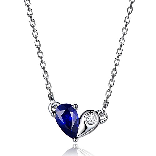 0.3ct Natural Pear Shaped Cut Blue Sapphire Diamond 14k White Gold Pendant 925 Sterling Silver (18k Gold Pear Shaped Sapphire)