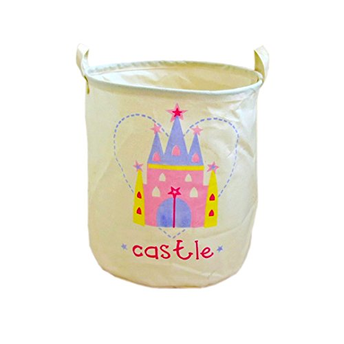 Storage Baskets Home Organizer Bin For Baby Nursery Cotton Foldable Round Linen Barrel Hampers Handles Laundry Bag Baby Toys Clothing Gift Baskets Elephant Porcupine Castle Gifts (Castle)