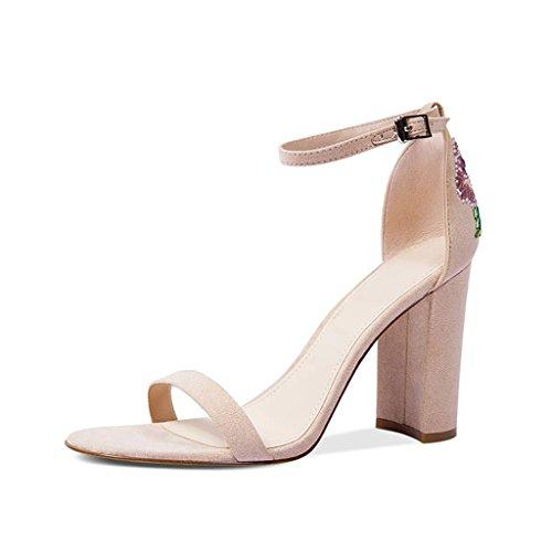 Alto Con Sandali dimensioni Con Moda JIANXIN Estivi Colore Sandali 35 Da Donna Chunky Albicocca Pelle Tacco In Perline OxwnX0