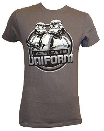 Star Wars Stormtrooper Ladies Love The Uniform T-shirt (Medium, Charcoal)