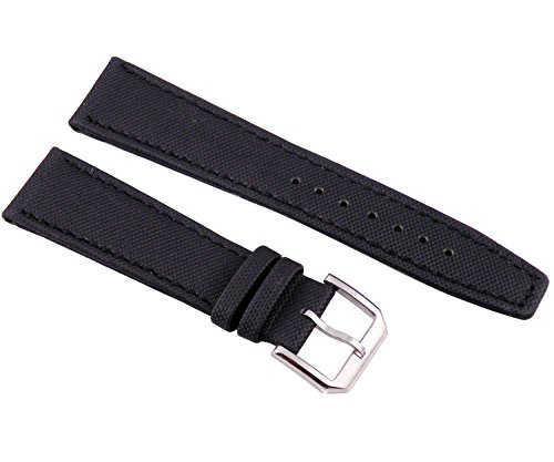 Fanmis 21mm Black Fabric Leather Strap Watch Band Watchband Pilot Pin Silver Buckle