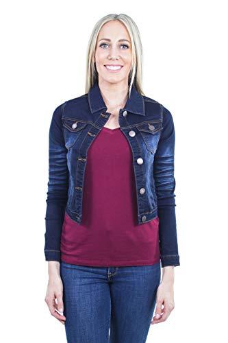 Women's Juniors Cropped Ripped Denim Jackets Long Sleeve Jean Coats in Dark Blue Size S