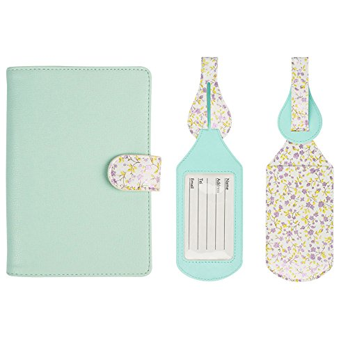 JAVOedge Mint Floral Interior RFID Blocking Passport Case with Pen Holder and 2 Matching Luggage - Tag Floral Luggage
