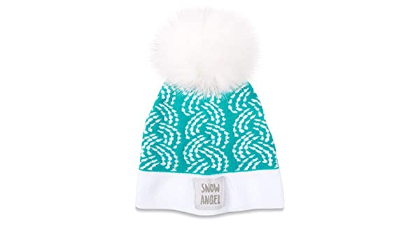 ede4f79a422 Amazon.com  Pavilion - Snow Angel - Turquoise Cable Knit Pom Pom Puff Ball  1-2 Year 12-24 Month Unisex Baby Winter Hat  Clothing