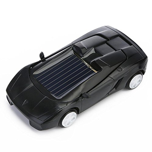 Gbell Solar Powered Mini Racer Car Toy - Solar Energy Vehicle Educational Gadget Gift for Toddlers Kids Baby Boys Girls,7x3x2CM,Assorted Red Black White Yellow (Black)