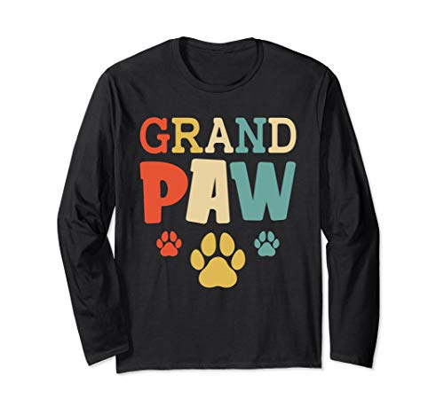 Grandpaw Vintage Funny Dog Lovers Grandpa Fathers Day Gift Long Sleeve T-Shirt ()