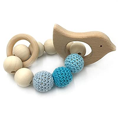 Amyster Crochet Bead Teething Ring Set Untreated Beech Teether with Organic Wood Animal Toy Wood Bracelet Baby Mom Kids Wooden Teether Bangle (Bird) : Baby