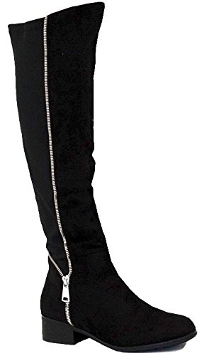 Knee Black Pull Faux Womens Ladies Boots The Low Suede FrontCover On Size Heel Flat Stretch Over High Zip 0pPwAZqA