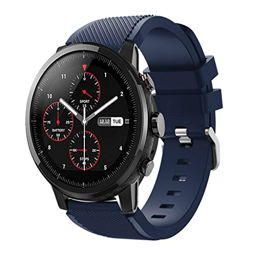 Price comparison product image Cywulin Silicone Sports Band for Huami Amazfit Stratos 2 and 2S Xiaomi Amazfit Bip BIT PACE,  22mm Smartwatch Replacement Strap for Samsung Galaxy Watch 46mm Gear S3 Huawei Watch 2 Classic (Dark Blue)